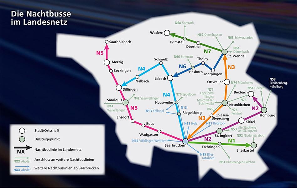 saarVV Nachtbusse Saarland Liniennetz