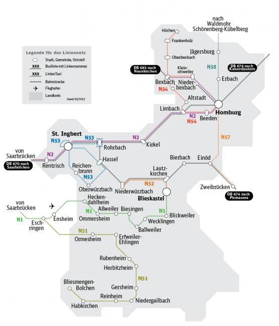 Übersichtskarte Nachtbusse Saarpfalz-Kreis